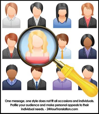 Target message; profile audience; targeting; target marketing; segmentation; niche marketing; diversity; profiling; audience analysis; marketing analysis