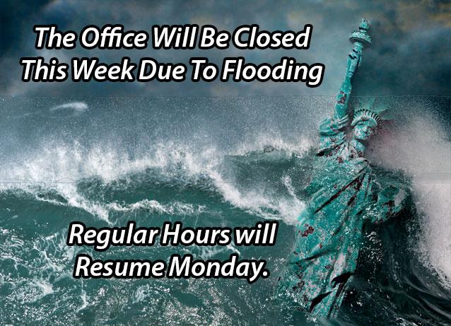 Natural diaster, flood, tsunami, statue of liberty, closed business