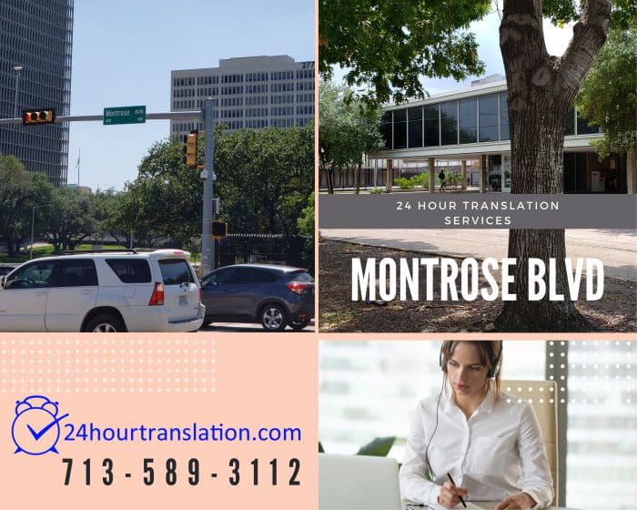 The Montrose neighborhood in Houston is home to famous restaurants,  the University of St. Thomas, and 24 Hour Translation Services.